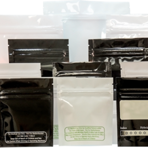 1/8th Ounce Glossy White AZ Code Smell Proof Mylar Bags