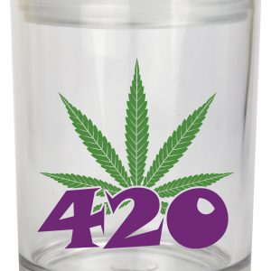 """Smell proof 1 ounce stash jar with leaf """"420"""" graphic"""