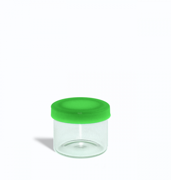 6ml glass containers for 1 gram with green lids