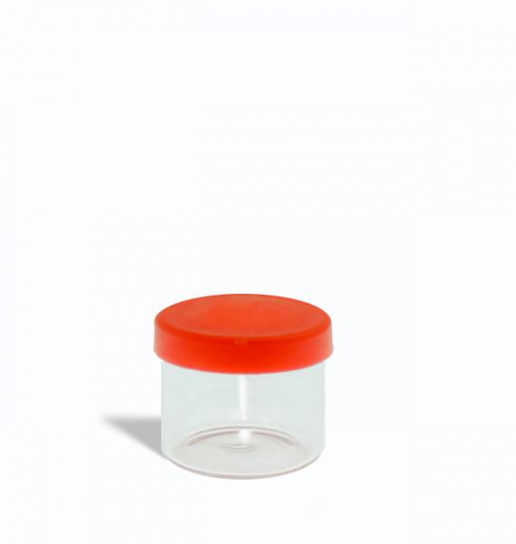 6ml glass containers for 1 gram with red lids