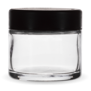 Child Resistant 2 ounce jar with black lid