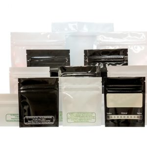 """1 Ounce Glossy White """"Best Practice"""" Smell Proof Mylar Bags"""