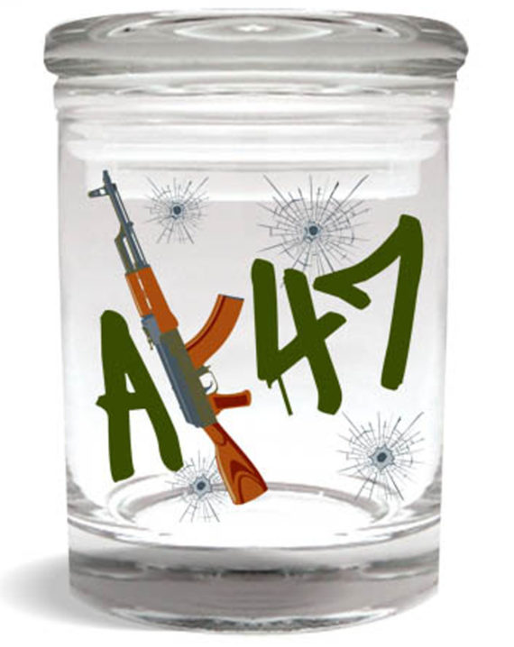 "Smell proof 1/4 ounce stash jar with ""AK47"" gun graphic"