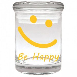 """Smell proof 1/8 ounce stash jar with yellow smiley face """"be happy"""" graphic"""