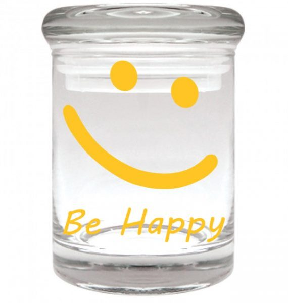 "Smell proof 1/8 ounce stash jar with yellow smiley face ""be happy"" graphic"