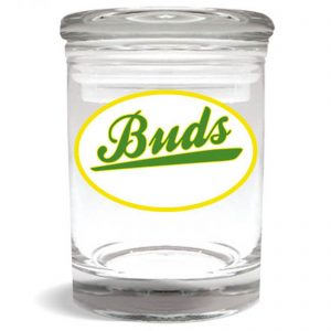 """Smell proof 1/4 ounce stash jar with green """"buds"""" graphic"""