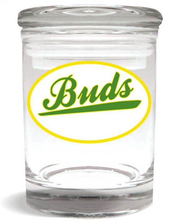 "Smell proof 1/4 ounce stash jar with green ""buds"" graphic"
