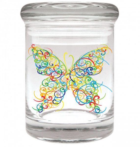 Smell proof 1/8 ounce stash jar with rainbow butterfly graphic