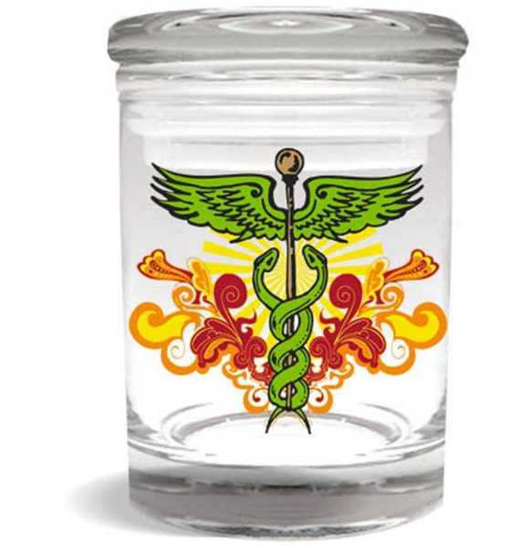 Smell proof 1/8 ounce stash jar with caduceus graphic