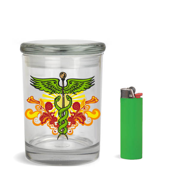caduceus series stash jar design 1 stash jar for-1-2-ounce