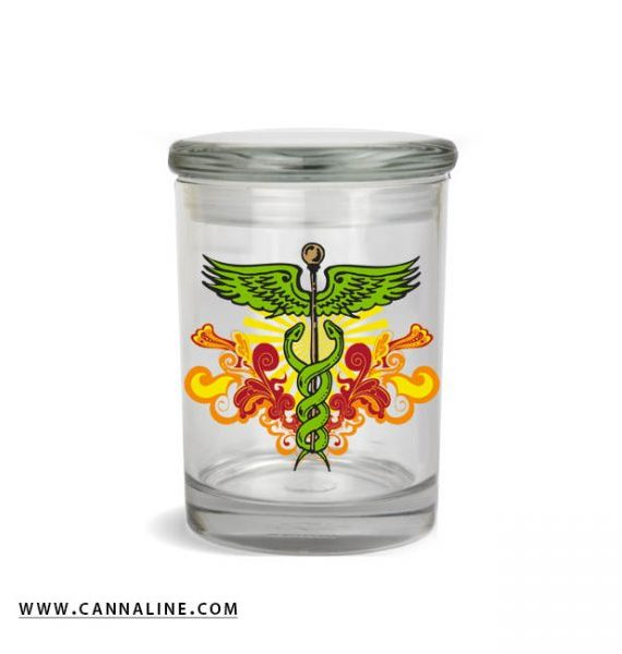 Smell proof 1/2 ounce with caduceus graphic