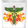Smell proof 1 ounce stash jar with caduceus graphic