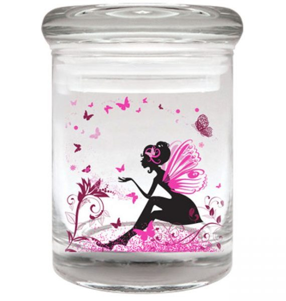 Smell proof 1/8 ounce stash jar with pink/black fairy graphic