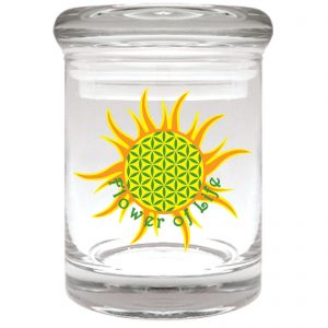 """Smell proof 1/8 ounce stash jar with """"flower of life"""" graphic"""