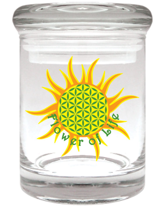 "Smell proof 1/8 ounce stash jar with ""flower of life"" graphic"