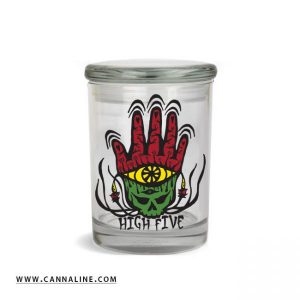 """Smell proof 1/2 ounce stash jar with Rasta """"high five"""" hand graphic"""