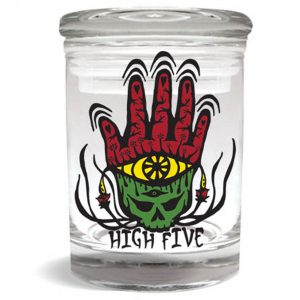 """Smell proof 1/4 ounce stash jar with """"high five"""" Rasta hand graphic"""