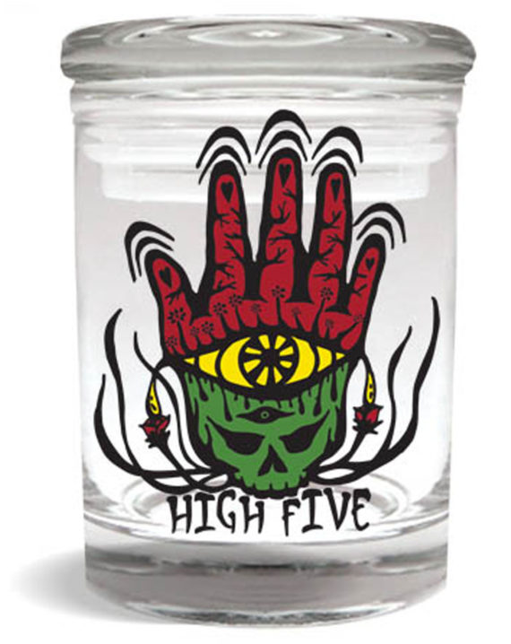 "Smell proof 1/4 ounce stash jar with ""high five"" Rasta hand graphic"