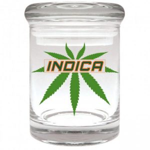 """Smell proof 1/8 ounce stash jar with leaf """"indica"""" graphic"""