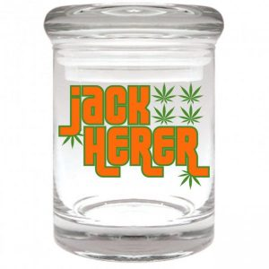 """Smell proof 1/8 ounce stash jar with leaves """"jack herer"""" graphic"""