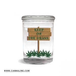 """Smell proof 1/8 ounce stash jar with """"keep on the grass"""" sign graphic"""