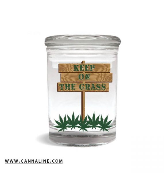 "Smell proof 1/8 ounce stash jar with ""keep on the grass"" sign graphic"