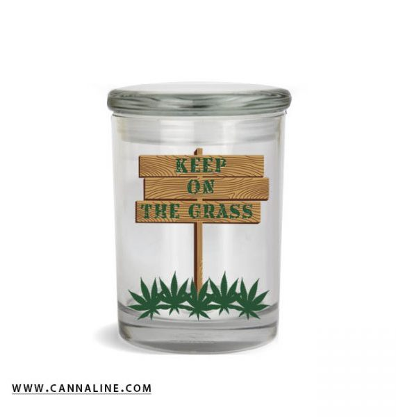 "Smell proof 1/2 ounce stash jar with ""keep on the grass"" sign graphic"