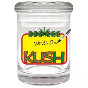 """Smell proof 1/8 ounce stash jar with rewritable """"kush"""" graphic"""