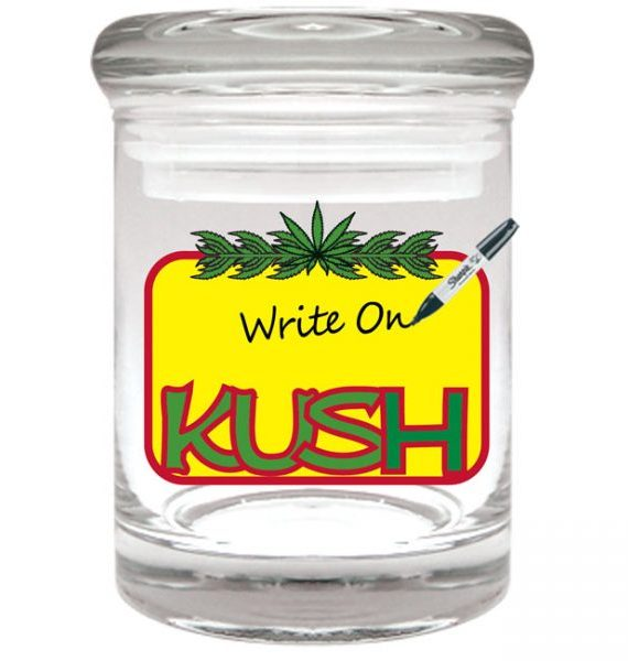 "Smell proof 1/8 ounce stash jar with rewritable ""kush"" graphic"