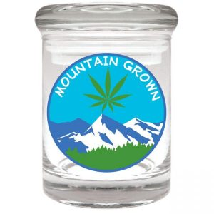 """Smell proof 1/8 ounce stash jar with """"mountain grown"""" graphic"""