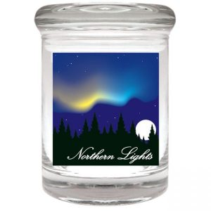 """Smell proof 1/8 ounce stash jar with night sky """"northern lights"""" graphic"""