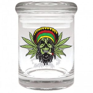 Smell proof 1/8 ounce stash jar with Rasta skull graphic