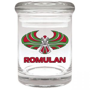 """Smell proof 1/8 ounce stash jar with """"Romulan"""" bird graphic"""