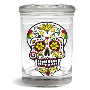 Smell proof 1/4 ounce stash jar with Rasta sugar skull graphic