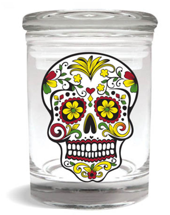 Smell proof 1/4 ounce stash jar with Rasta sugar skull graphic