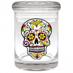 Smell proof 1/8 ounce stash jar with Rasta sugar skull graphic
