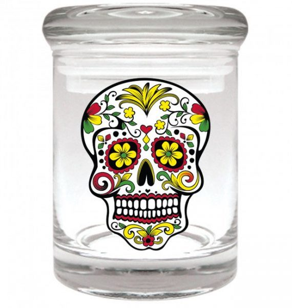 Smell proof 1/8 ounce stash jar with Rasta sugar skull graphic
