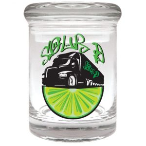 """Smell proof 1/8 ounce stash jar with """"sour d"""" truck graphic"""