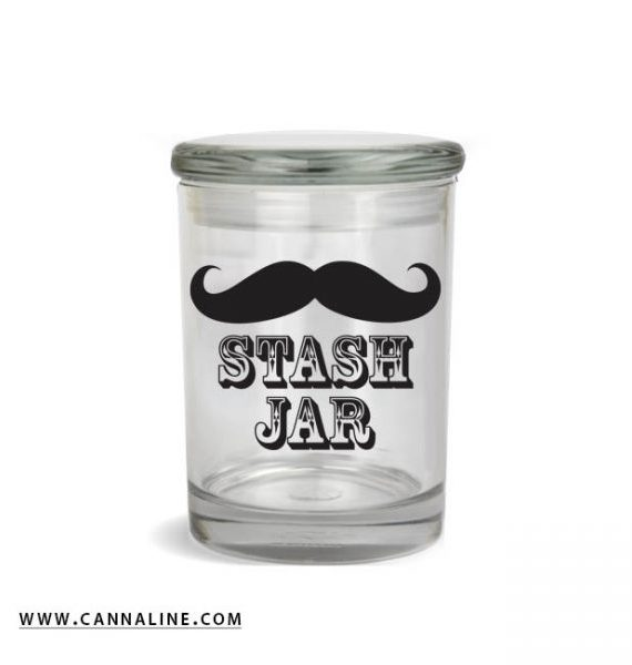 "Smell proof 1/2 ounce stash jar with mustache ""stash jar"" graphic"