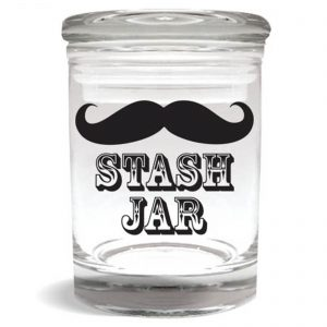 """Smell proof 1/4 ounce stash jar with mustache """"stash jar"""" graphic"""