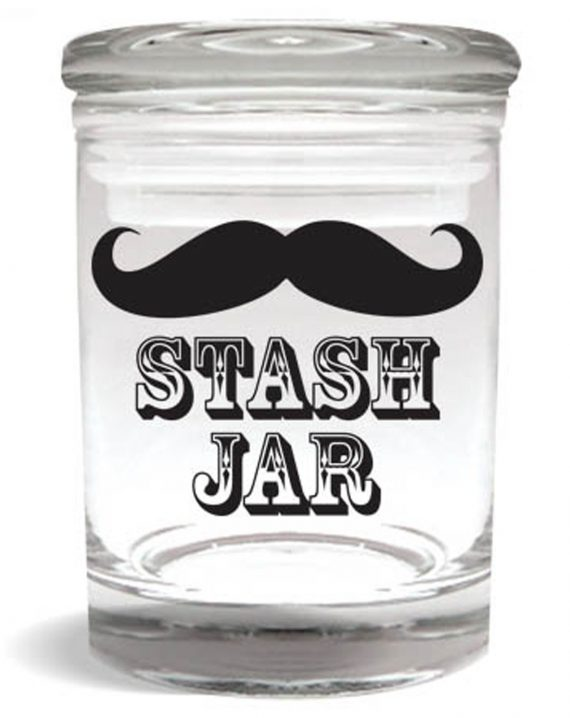 "Smell proof 1/4 ounce stash jar with mustache ""stash jar"" graphic"