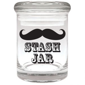 """Smell proof 1/8 ounce stash jar with mustache """"stash jar"""" graphic"""