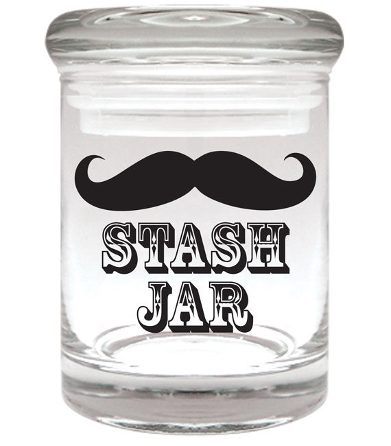 "Smell proof 1/8 ounce stash jar with mustache ""stash jar"" graphic"