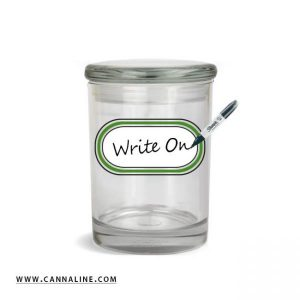 Smell proof 1/2 ounce stash jar with re-writeable graphic