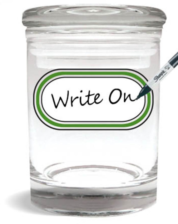 Smell proof 1/4 ounce stash jar with writeable label graphic