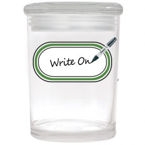 Smell proof 1 ounce stash jar with writeable label graphic