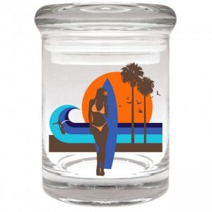 Smell proof 1/8 ounce stash jar with surf girl graphic
