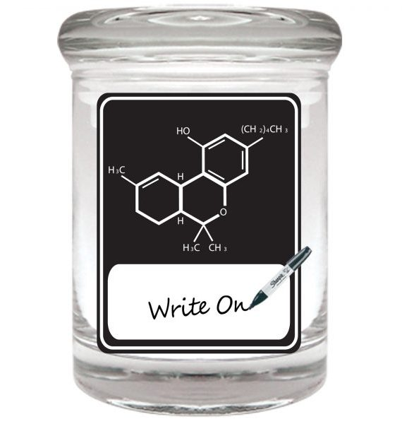 Smell proof 1/8 ounce stash jar with black THC molecule graphic and writeable label