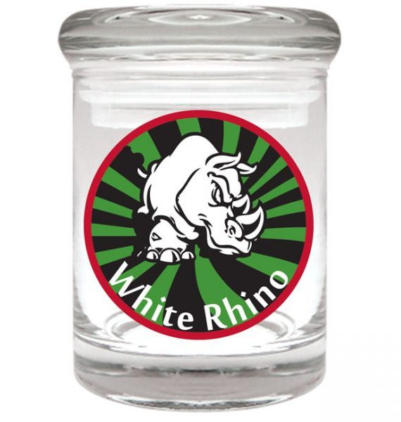 "Smell proof 1/8 ounce stash jar with rhino sunburst ""white rhino"" graphic"