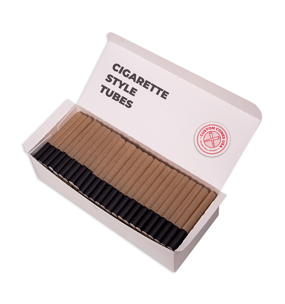 1/2 Gram (84mm) Cigarette Style Cones - Hemp Filter, Brown Hemp Paper, Black Tip